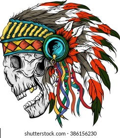 Vector illustration of colorful Indian  skull .