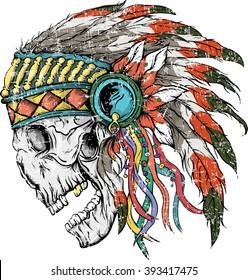 Vector illustration of colorful Indian  skull . Vector illustration of design for shirt , T-shirt with Indian skull on white background. Vintage design for shirt.