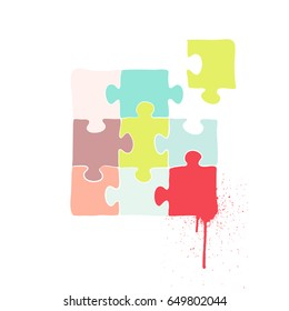 Vector illustration - Colorful Jigsaw Puzzle
