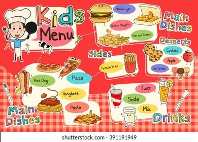 A vector illustration of colorful kids meal menu