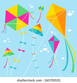 Vector illustration of colorful kites and clouds in the sky.