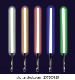 Vector illustration  with colorful light sabers on blue sky background