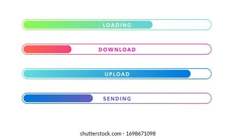 Vector Illustration Colorful Loading Bar Set. Modern Web Element Collection