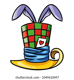 Vector illustration of colorful loony bunny magician top hat in isolated background.