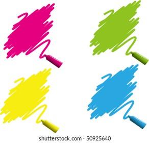 Vector Illustration of colorful marker labels set