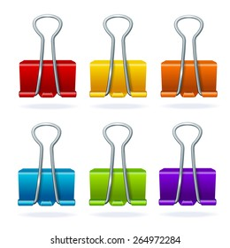 Vector illustration colorful metal binder clip set isolated on white background