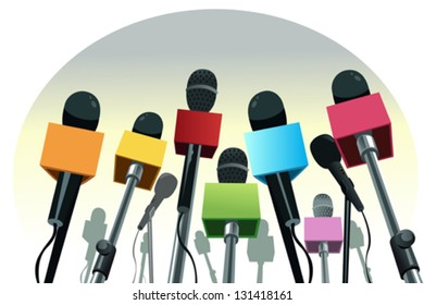 A vector illustration of colorful microphones on the podium with copy space