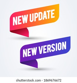 Vector Illustration Colorful New Update And Version Banner