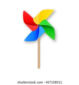 Vector illustration. Colorful paper windmill pinwheel