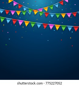 Vector illustration of Colorful party flags on blue background