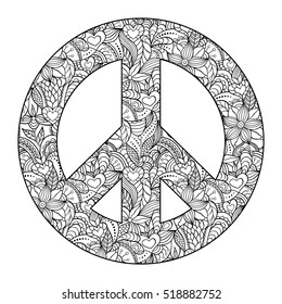 Vector illustration of colorful peace symbol on white background.Coloring page for adult.