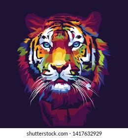 vector illustration of a colorful pop art tiger