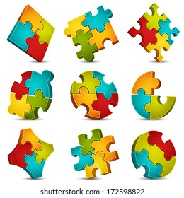 Vector illustration of colorful puzzle icons.