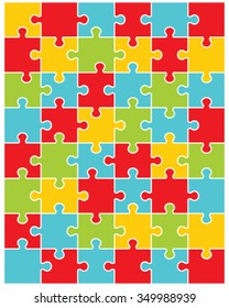 Vector Illustration Of Colorful Puzzle Separate Pieces