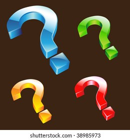 vector illustration of colorful question mark icons