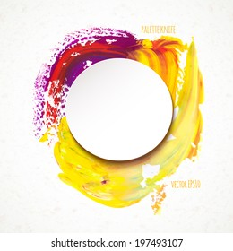 Vector illustration. colorful round spot, painted with a palette knife, with a paper sticker on the texture background