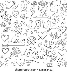 Vector illustration of colorful seamless pattern with hearts, flowers and other elements
