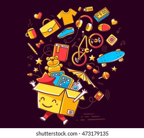 Vector illustration of colorful smile character shopping box with lot of purchases on dark background. Doodle style. Thin line art flat design of shopping box character with hands, legs