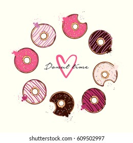 Vector illustration - Colorful and tasty donuts, isolated on white background
