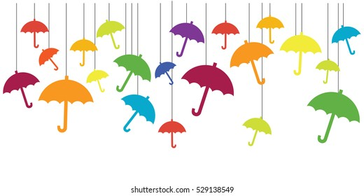 vector illustration of colorful umbrellas hanging over it for rainy weather design concepts