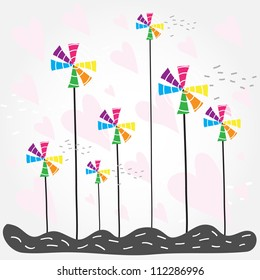 Vector illustration with colorful windmills