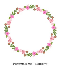 Vector illustration colorful wreath frame blooms hand drawn