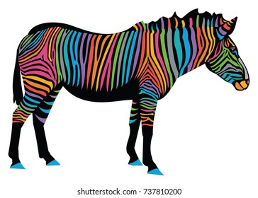 Vector Illustration of a colorful zebra with black body and rainbow stripes