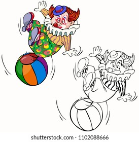 Vector illustration, colorind drawing, clown with ball, card concept, white background.