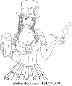 Vector illustration, coloring, beautiful waitress girl, with a beer mug in her hands on St. Patrick's Day