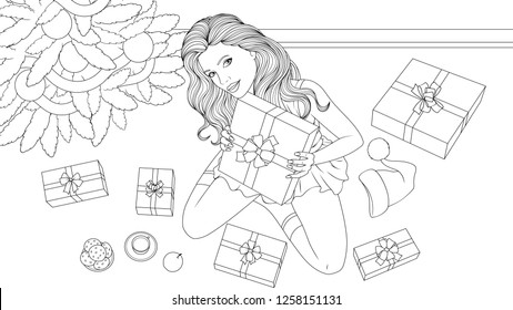Vector illustration coloring book, beautiful girl with a gift for Christmas.