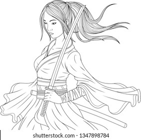 Vector illustration coloring book, beautiful japanese samurai girl holding katana sword in her hands