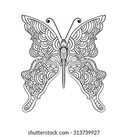 Vector illustration for coloring book. Black and white hand drawn butterfly.
