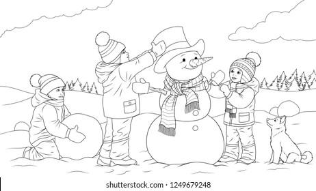 Vector illustration coloring book, children sculpt snowman, play games.