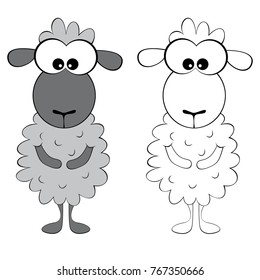 Vector illustration for coloring book - funny sheep
