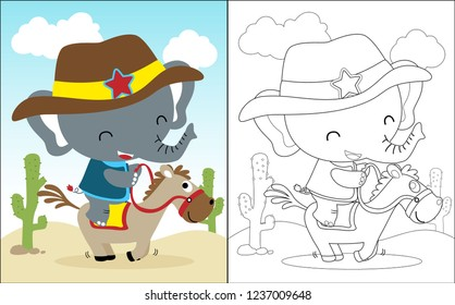 Vector illustration of coloring book with little elephant cartoon riding a horse