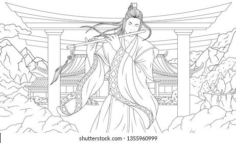 Vector illustration coloring book, oriental man samurai playing flute in the mountains