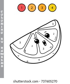 Vector illustration coloring by numbers educational game with cartoon lemon character for kids
