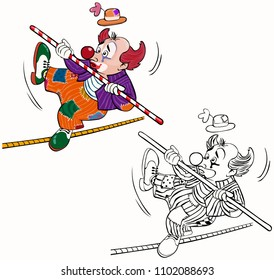 Vector illustration, coloring drawing, acrobat clown, card concept, white background.