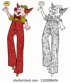 Vector illustration, coloring drawing, clown with stilts, card concept, white background.