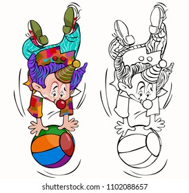 Vector illustration, coloring drawing, clown with ball, card concept, white background.