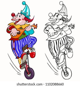 Vector illustration, coloring drawing, clown on a unicycle, card concept, white background.
