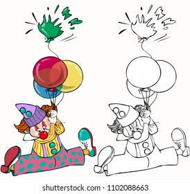 Vector illustration, coloring drawing, clown with balloons, card concept, white background.