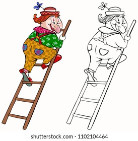 Vector illustration, coloring drawing, clown climbing ladder, cartoon concept, white background.