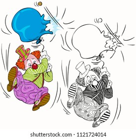 Vector illustration, coloring drawing, clown with broken balloon, cartoon concept, white background.