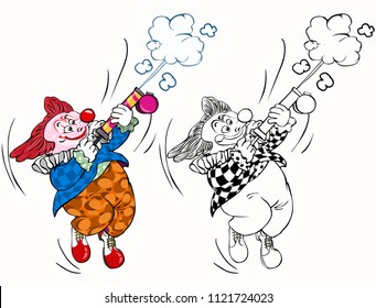 Vector illustration, coloring drawing, clown with flit pump, cartoon concept, white background.