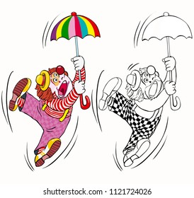 Vector illustration, coloring drawing, clown with umbrella, cartoon concept, white background.