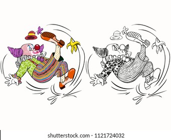Vector illustration, coloring drawing, clown sliding on a banana shell, cartoon concept, white background.