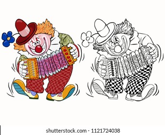 Vector illustration, coloring drawing, clown playing accordion, cartoon concept, white background.
