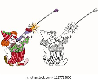 Vector illustration, coloring drawing, clown shooting with a toy gun, cartoon concept, white background.