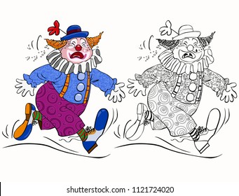Vector illustration, coloring drawing, crying clown, cartoon concept, white background.